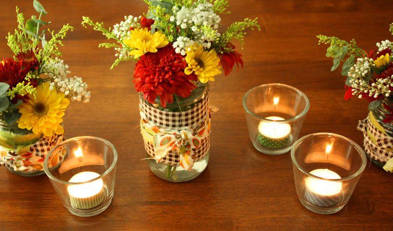 Just Make Stuff Blog...Fabric Wrapped Flower Jars