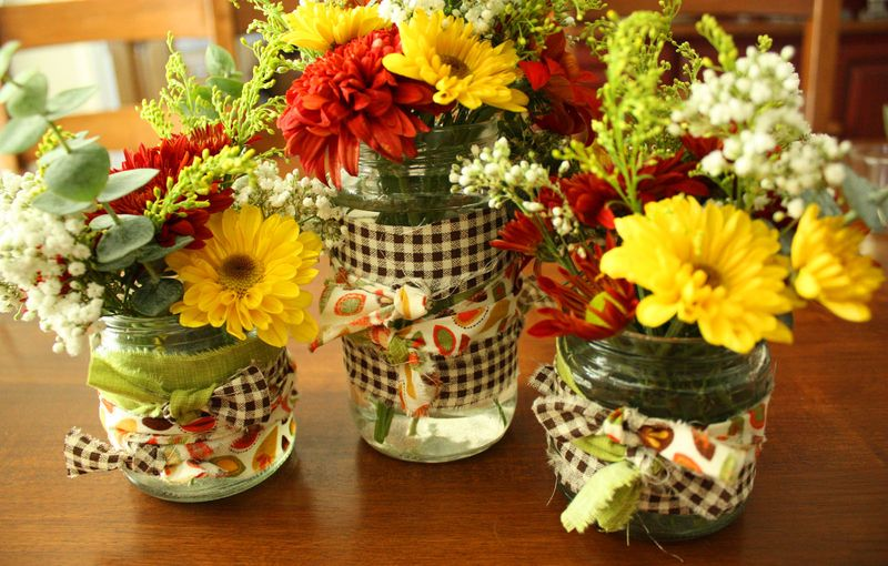 Just Make Stuff Blog...Fabric Wrapped Flower Jars