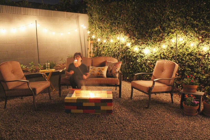 Just Make Stuff Blog...Colorful Backyard Fire Pit