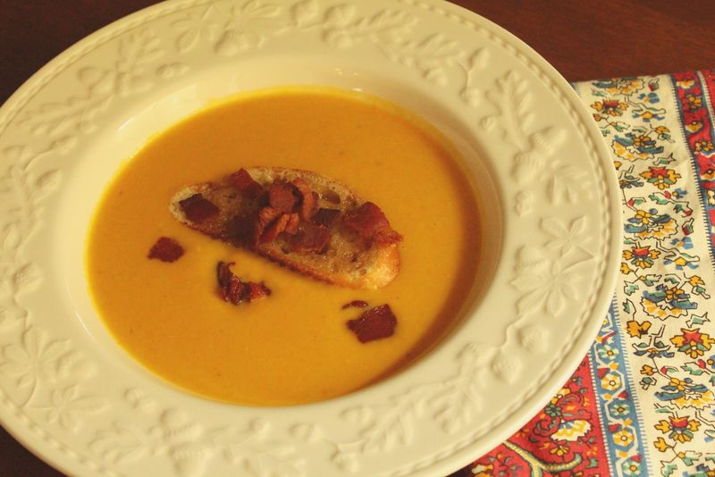 Pumpkin Bacon Apple Soup with Caramelized Crouton...Just Make Stuff Blog