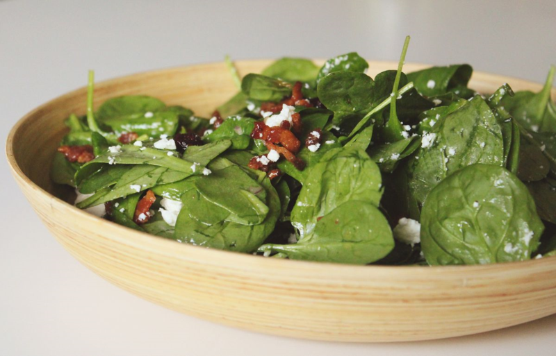 Bacon & Goat Cheese Spinach Salad with Orange Marmalade Dressing...Just Make Stuff Blog