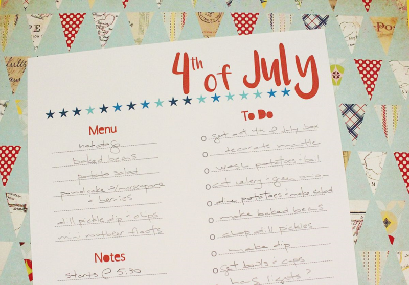Free 4th of July Planning Printable...Just Make Stuff Blog