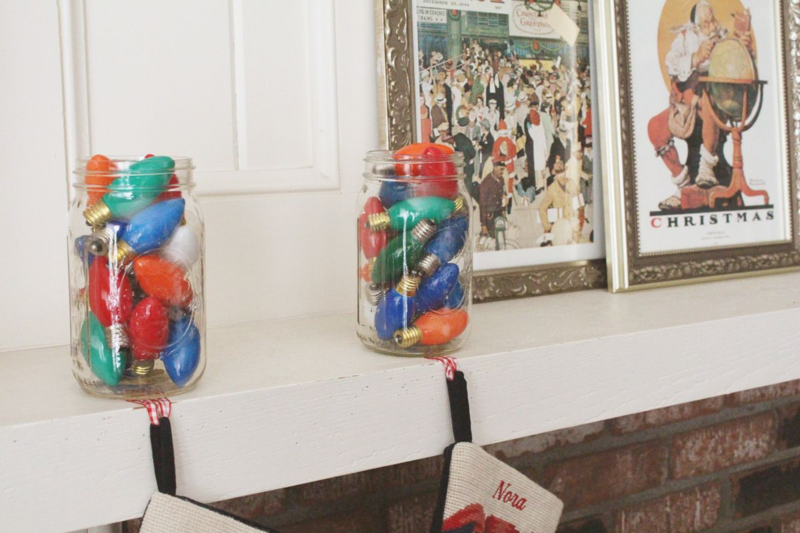 Mason Jar Christmas Light Stocking Holders...Just Make Stuff Blog